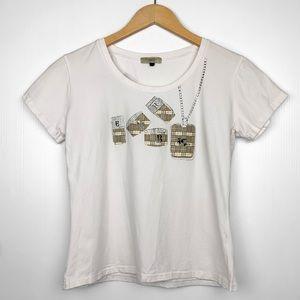 Vintage Burberry Nova Check Rhinestone White Shirt